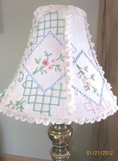 Recycled vintage runner lampshade