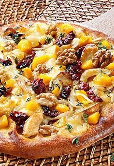 pizza with pumpkin and walnuts