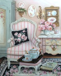 """""""Bonjour"""" Susan Rios Keepsakes 8 x 10 A tea party just for you! Put up your feet and help yourself. """"Bonjour"""" Susan Rios Keepsakes 8 x 10 A tea party just for you! Put up your feet and help yourself. Cottage Art, Shabby Chic Cottage, Shabby Chic Homes, Shabby Chic Decor, Wall Decor, Room Decor, Tea Art, Shabby Chic Furniture, Home Remodeling"""