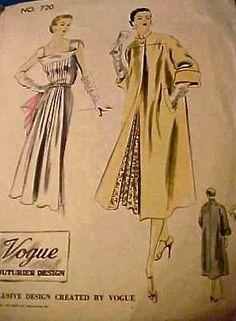Vogue Couturier Pattern No. 720 ©1952 - Gorgeous Dress & Coat