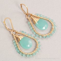 Aqua chalcedony and apatite beaded hoops in gold fill, handmade by BellesBijouxDesigns