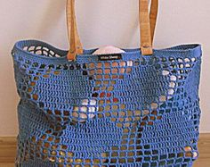 Handmade Light Grey CROCHET Bag-Tote with CORK SKIN Handles // Bag with rhombus…
