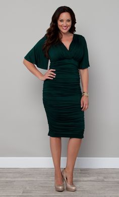 Rumor has it that you'll LOVE this dress.  The Plus Size Rumor Ruched Dress by Kiyonna is appropriately named, Green with Envy.  Perfect to wear for any upcoming holiday parties where you want to stand out.  #KiyonnaPlusYou  #Kiyonna #PlusSize