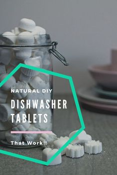 Easy homemade DIY dishwasher tablets made using only all natural ingredients like washing soda, citr Diy Home Cleaning, Cleaning Items, Green Cleaning, Cleaning Hacks, Natural Cleaning Recipes, Natural Cleaning Products, Natural Products, Beauty Products, Tablet Recipe