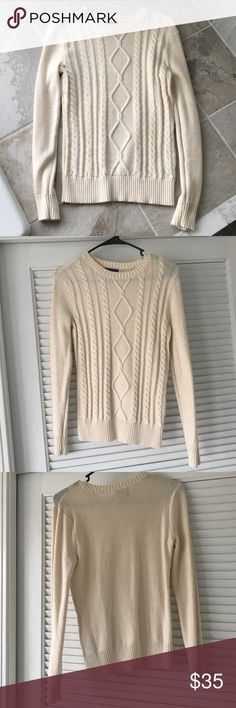 NEW Chaps women's cable knit cream sweater Brand new without tags. This may have been washed once but has never been worn. Perfect condition. Form fitted cable knit women's Chaps sweater in a neutral cream beige color. Perfect for the winter months. Long sleeve, can also be worn with a long sleeve collared shirt underneath for a preppy look. Chaps Sweaters Crew & Scoop Necks