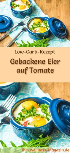 Low-Carb-Rezept für gebackene Eier auf Tomate: Kohlenhydratarm, eiweißreich, kalorienreduziert, ohne Getreidemehl, gesund ... #lowcarb #frühstück