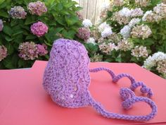 Crochet Bonnet (side view), made for Click for Babies Charity, Vancouver.