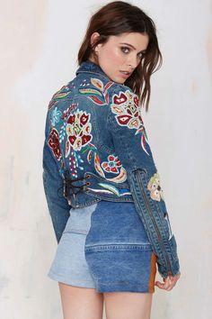 Vintage Roberto Cavalli Franchesca Embroidered Denim Jacket | Shop Vintage at Nasty Gal!