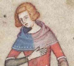 14thC  Party color good with band and dot hem trim. Also a 3/4 sleeve overdress with white trim with Brown underdress