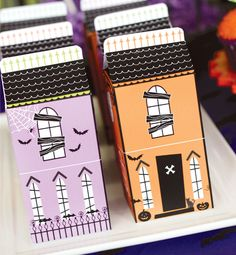 Love these haunted house boxes (via Hostess with the Mostess)use winder woodland circuit houses turned into haunted houses