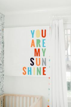 Neutral Nursery with a Pop of Color You are My Sunshine Wall Hanging