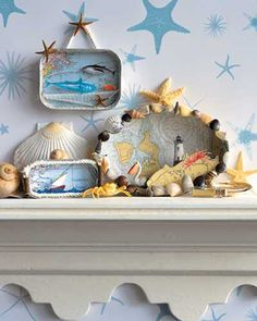 starfish and sea shells decorations for fireplace mantel