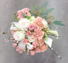 74 best pink bridal bouquets images on pinterest in 2018 bridal blush and white bridal bouquet with garden roses calla lilies carnations spray roses wax flower seeded eucalyptus and push willow accents by nancy at mightylinksfo