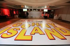 Roller Coaster / Amusement Park Dance Floor Logo Decal for Bat Mitzvah {Westminster Hotel NJ, Ivan Piedra Photography} - mazelmoments.com