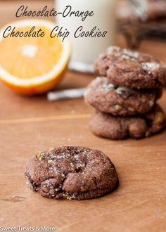 Chocolate-Orange Chocolate Chip Cookies.  They taste just like a Christmas chocolate orange! via sweettreatsmore.com.