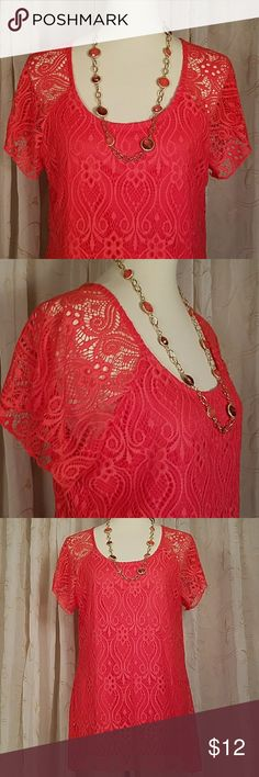 Brittany Black coral lace top Beautiful coral top, rayon feel sheath with gorgeous lace overlay. Brand new without tags. Brittany Black Tops Blouses