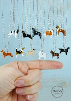 Mini ceramic pendandt necklace with dog silhouette:) A lot of breeds :)))