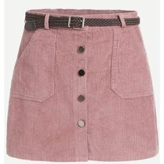 Pink Corduroy Single Breasted Pockets Skirt With Belt (132.150 IDR) ❤ liked on Polyvore featuring skirts, mini skirts, flower print skirt, floral printed skirt, red mini skirt and babydoll skirt