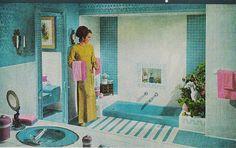 "I love the sunken tub here. ""What Happened to My Bathtub?"" Better Homes and Gardens, May Orange Bathrooms, Vintage Bathrooms, White Bathroom, Better Homes And Gardens, Retro Interior Design, Interior Modern, Retro Design, Graphic Design, Mid Century Bathroom"