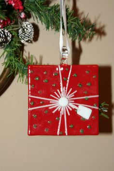 Glass Present Ornament by BloomingLilyGlass on Etsy, $10.00