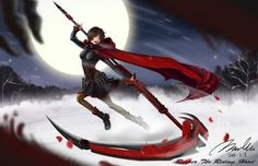 Rating: Safe Score: 122 Tags: bannouneko boots brown_hair cape flowers gray_eyes moon petals red rose ruby_rose rwby scythe skirt snow weapon winter User: BoobMaster
