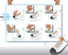 one handed shoe tying  Mais tu as besoin de deux mains pour tenir l'affiche.