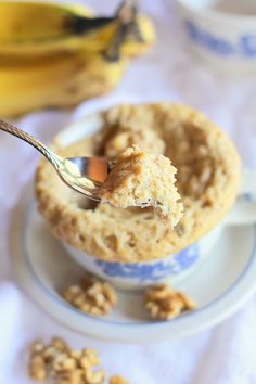 Paleo Banana Bread Mug Cake (Two Ways!) - with instructions for using either coconut flour or almond flour| TheRoastedRoot.net This grain-free, refined sugar-free cake for one requires only 5 minutes of time and it's super healthy and delicious!