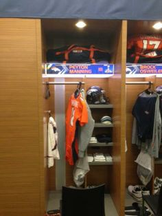 The view of Peyton Manning's locker with 4 hours to kickoff. 