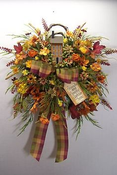 Wreath Fall Saltbox House Primitive Country (: ADH