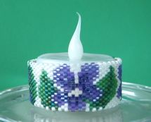 Violets Tea Light Cover Pattern at Sova-Enterprises.com lots of free beading patterns and tutorials are available!
