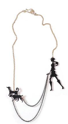 black dog walker necklace