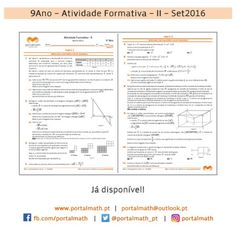 9Ano - Atividade Formativa I - Matemática - Exercícios Bullet Journal, Math Exercises, Activities, School, Log Projects, Note Cards