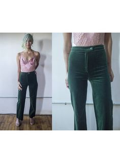 fab4f6ff4eea Vintage 1970s Pierre D Alby Dark Green High-Waisted Velveteen Pants - Size  XS