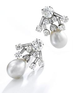 Pair of platinum, natural pearl and diamond earclips - I think these would be a beautifully original match to the Cartier Halo Scroll Tiara, Strathmore Rose Tiara or even the Cambridge Lovers' Knot! Pearl Stud Earrings, Stone Earrings, Pearl Jewelry, Women's Earrings, Fine Jewelry, Diamond Tops, Pearl And Diamond Ring, Baguette, Jewels