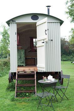 Mizzle Exterior Hut from Farrow & Ball Farrow Ball, Cabana, Gypsy Trailer, Gypsy Caravan, Gypsy Wagon, Caravan Paint, Shepherds Hut, She Sheds, House On Wheels