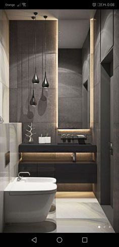 Browse modern bathroom designs and decorating ideas. Discover inspiration for your minimalist bathroom remodel, including colors, storage, and layouts. Bathroom Design Luxury, Modern Bathroom Design, Modern Interior Design, Modern Luxury Bathroom, Modern Bathtub, Studio Interior, Modern Toilet Design, Small Bathroom Designs, Interior Ideas