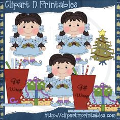Chubby Elf Girl Braids Black- #Clipart #ResellableClipart #Christmas #Presents #Gifts #Elf #Elves #Girls #WrappingPaper #Bows #ChristmasTree #Star #Decorations