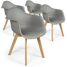 Lot de 4 chaises scandinaves blanc assise noir Jeny