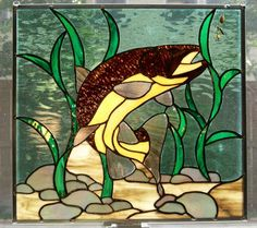 Stained Glass Brown Trout Panel by judibraza on Etsy