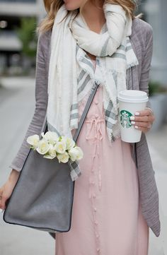 Transition your dress from summer to fall with gray neutrals and a chic & cozy scarf! A delicious cup of java is also a must!