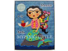 Frida Kahlo Mermaid Full Moon Butterfly 8 x10 por MyPinkTurtleShop