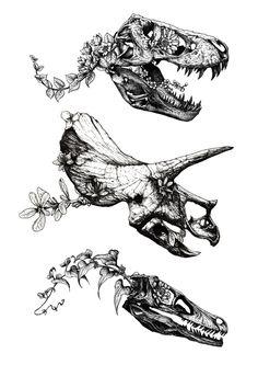 Jurassic Bloom print by Sinpiggyhead