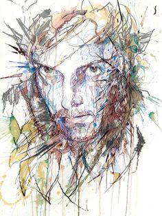 Ink and tea illustrations by Carne Griffiths