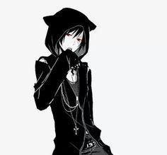 Image via We Heart It https://weheartit.com/entry/137200091/via/17510959 #black #catears #dark #gothic #hood #redeyes #animeboy