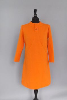 Vintage 1960's 70s Pumpkin Orange Groovy Mod Shirt Dress Retro Flight Attendant Size Medium Large Day Kitsch Dress Hipster Mini Dress