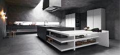 #kitchen Elle by Cesar Arredamenti Spa - Elle has sharp lines that define rigorous compositions and great scenographic effect. #blackwhite