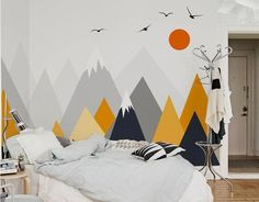 Gray Geometric Mountains Wallpaper Wall Mural Triangle Mountains Hills Seagull w . Gray Geometric Mountains Wallpaper Wall Mural Triangle Mountains Hills Seagull with Sun Geometric N Bedroom Wall, Kids Bedroom, Bedroom Decor, Bedroom Sets, Geometric Mountain Wallpaper, Baby Room Decor, Wall Decor, Living Room Murals, Kids Wall Murals