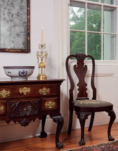 A Chippendale carved mahogany Dressing Table attributed to the shop of Henry Cliffton (D. 1771) and Thomas Carteret; A Chinese Export Porcelain Blue Enamel and Gilt Punch Bowl, Late 18th Century; A Queen Anne Mahogany Compass-Seat Side Chair, Philadelphia, 1750-1760... Georgian Exquisite Details...