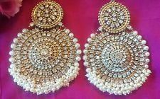 Big gold pearl earring jewellery Bollywood Indian fashion dangle earrings Saree