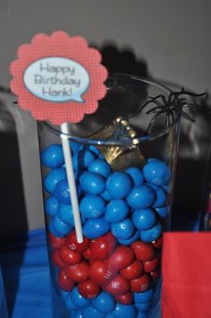 Blue and Red M'Ms for Spiderman party
